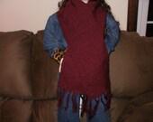 Gorgeous handwoven cranberry merino wool scarf