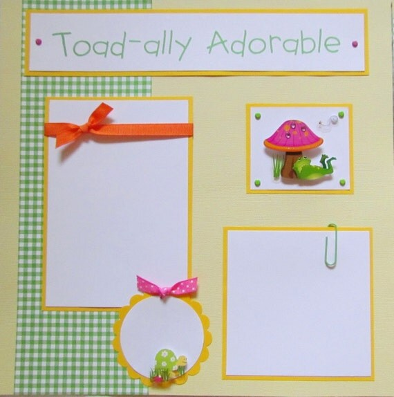 TOAD-ALLY ADORABLE 12x12 premade scrapbook pages FrOGs