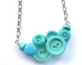 Bright Aqua Tiffany Blue Funky Button Necklace