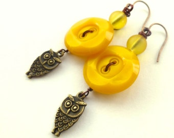 Mustard Yellow Vintage Buttons with Owls Dangle Earrings
