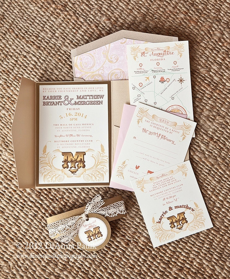 Romantic Wedding Invites with awesome invitation layout