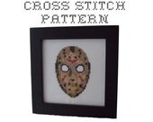 DIY - Jason Vorhees Mask - Friday the 13th  - .pdf Original Cross Stitch Pattern - Instant Download