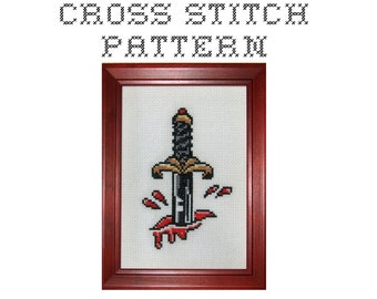 DIY  Dagger Tattoo Flash - .pdf Original Cross Stitch Pattern - Instant Download