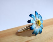 Blue Daisy Ring Sterling Silver