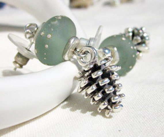 Stormy Winter Earrings - grey-green lampwork with sterling silver pinecone charms