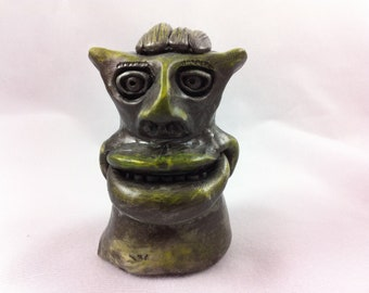 Green Alien Bust  - Polymer Clay Figure/Sculpture