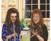 MIDNIGHT MARGARITAS - 8 x 10 Print of Original Acrylic Witch Painting by Carolee Clark