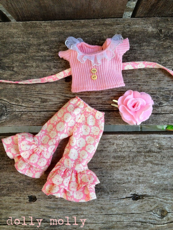 dolly molly PEACH knit ruffle top and pants flower for BLYTHE doll