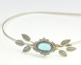 Bridal headband aquamarine blue jewel victorian vintage style leaves romantic