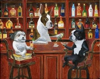 Boston Terrier, Great Dane and Shih Tzu at the bar dog art print