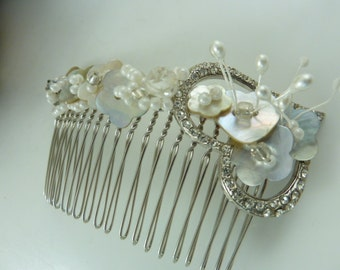 Bridal Hair Comb Vintage French  Mother of Pearl Buttons, Heart Diamante & Beads