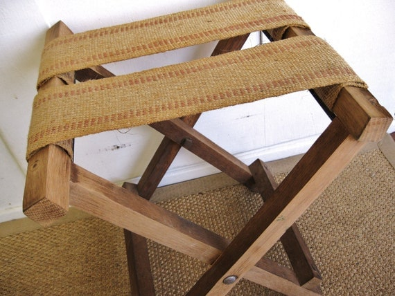 RESERVED...   Rustic and Natural...Vintage Burlap Jute Webbing Fold Up Camp Stool Luggage Stand Stool Bench