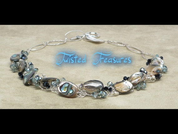 Abalone And Crystal Crocheted Necklace With Sterling Silver Chain And Pewter Toggle