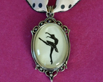 Sale 20% Off // SYLVIE GUILLEM Choker Necklace - pendant on ribbon - Silhouette Jewelry // Coupon Code SALE20