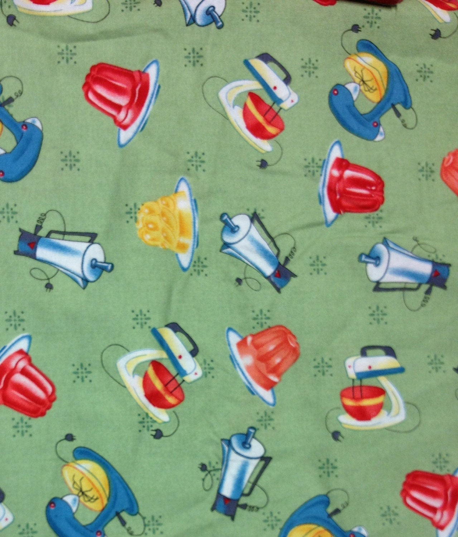 Kitchen Fabric: Retro 1950's Style Printed Kitchen Appliances Fabric