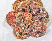 Taupe and Orange Crochet Flower Brooch - Burnt Orange Crochet Flower Pin