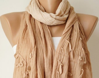 Hand Dyed  Camel, tan, fawn Color Scarf from %100 cotton with flora design