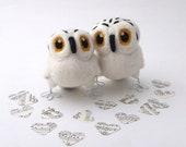 Owl Wedding Cake Topper Snowy Owl Pair in Natural White Felt Birds