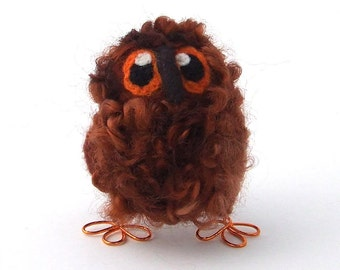 Owl Baby Needlefelted Bird Cute and Fluffy Owl in Chestnut Brown Wensleydale