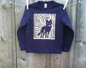 Midnight Wolf Long Sleeve Navy Child Tee sizes 2, 4, 6, 8, 10 & 12