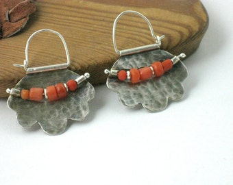 Silver Coral Earrings, Ancient Tribal Coral Earring Hoops, Hammered Sterling