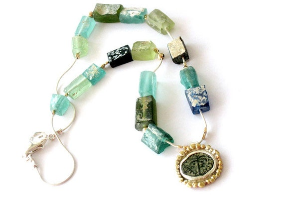 Ancient  Roman glass and ancient coin necklace