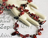 Garnet and Pearl Handmade Necklace One of a kind Cranberry red fashion statement