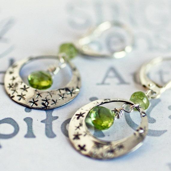 Peridot Sterling Silver Star Hoop Earrings