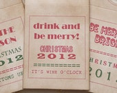 Wine Bottle Tags - Vintage and Christmas Style - Can be changed for Wedding Celebrations