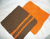 Crocheted Dishcloths, Set of 2, Orange and Chocolate Brown