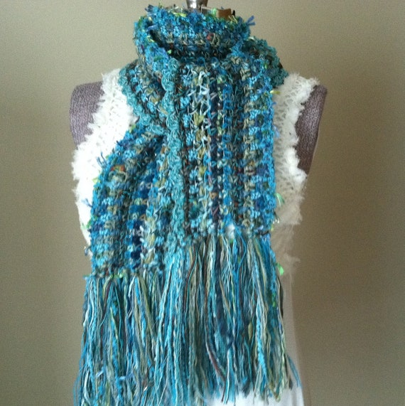 Turquoise Ocean Waves, Freeform Crochet Scarf, Vivid Aquamarine Chartreuse, Airy  Wrap