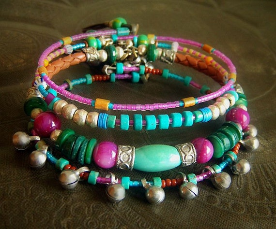 Turquoise, Shell, African Glass and Indian Charms Beaded Leather Bangle Set