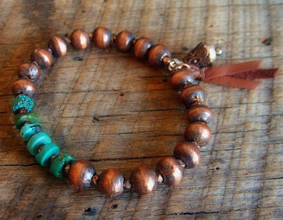 African Copper Globes and Turquoise Beaded Charm Bangel
