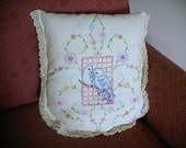 Vintage Table Runner Pillow--Hand Stitched Blue Birds-Flowers-Lace Edging