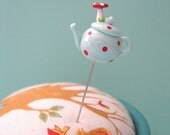 Aqua Mushroom Teapot Red Polka Dots Pin Topper