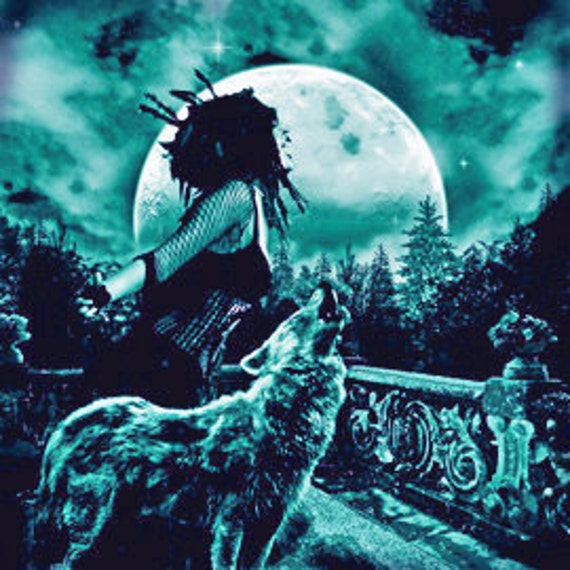 Night Music & mat original digital art - dark fantasy woman and wolf