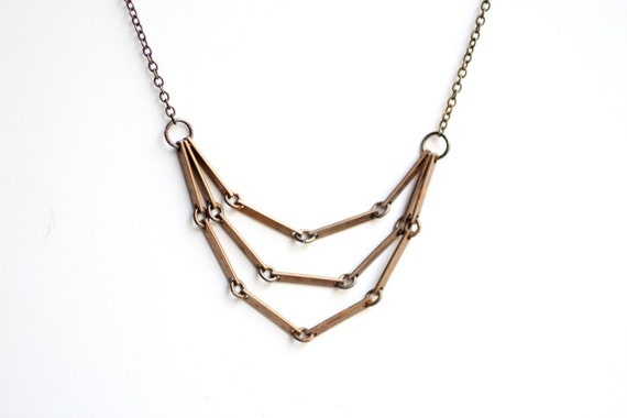 Vintage Layered Brass Chain Necklace