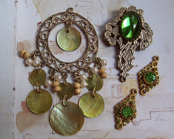 Vintage Green Rhinestones, Glass & Mother of Pearl Jewelry Reuse Lot, Destash