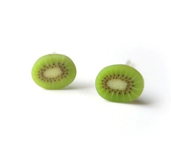 Kiwi Stud Earrings,Green Earrings,Tiny Earrings,Fruit Earring Posts,Green Jewelry,Polymer Clay Miniature Earrings (E086)
