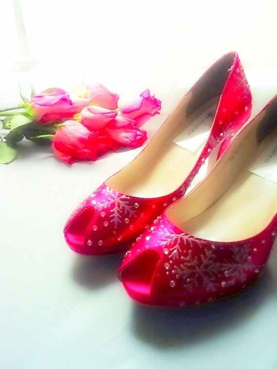 Wedding Shoes Crystals red lipstick snowflakes Christmas peep toes platform Karen