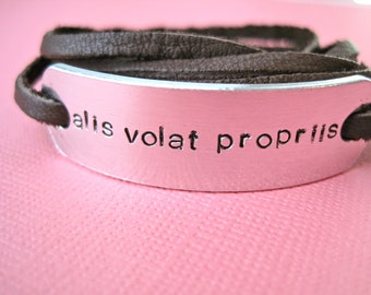Alis Volat Propriis Bracelet - Latin - With Wings She Flies - Leather Wrap