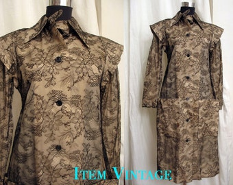 SALE WAS  150.00 Iconic Vintage 1970's Lace Overlay Coat Dress by Geoffrey Beene Size 6 to 8