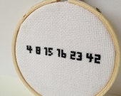 LOST numbers cross-stitch, Embroidery Hoop Art.  Embroidered sign.