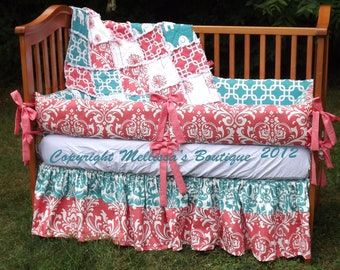 Custom Boutique Coral and Turquoise Palette Baby Nursery 3-Piece Crib Bedding Set made with Designer fabric