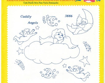 Retired Cuddly Angels  Aunt Martha's Embroidery Transfer Designs Pattern
