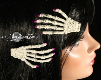 Skeleton hands hair clips with painted purple nails pair -- Sisters of the Moon