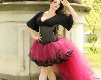 Formal tutu skirt bridal wine and black trimmed trail bustle Adult wedding prom dance hi low - Small - Ready To Ship - Sisters of the Moon