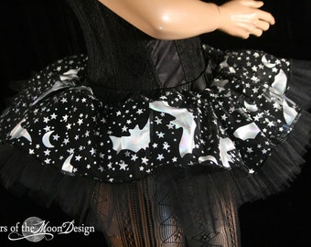 Adult tutu Mini bat sparkle Peek a boo style skirt dance costume roller derby halloween costume --You Choose Size