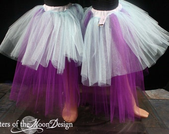 Raver tutu boot covers fluffy dance club rave party leg warmers retro aqua puprle EDC -- Sisters of the Moon