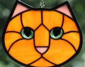 Stained Glass Cat Orange Kitty Face Suncatcher Green Eyes
